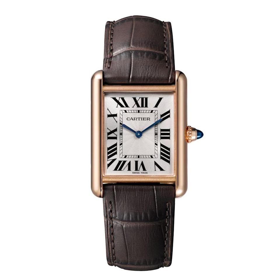 "<p><a class=""link rapid-noclick-resp"" href=""https://www.cartier.com/en-us/collections/watches/mens-watches/tank/tank-louis-cartier/wgta0011-tank-louis-cartier-watch.html"" rel=""nofollow noopener"" target=""_blank"" data-ylk=""slk:BUY IT HERE"">BUY IT HERE</a></p><p>Though famous for their jewelry, Cartier also has a staggering offering of handsome wristwatches. This Tank style features a rectangular face that serves as a cool throwback to the '30s, while still feeling modern and masculine. The rich details are what sets this watch apart: a crocodile strap, rose-gold hardware, and sapphire dial. </p>"