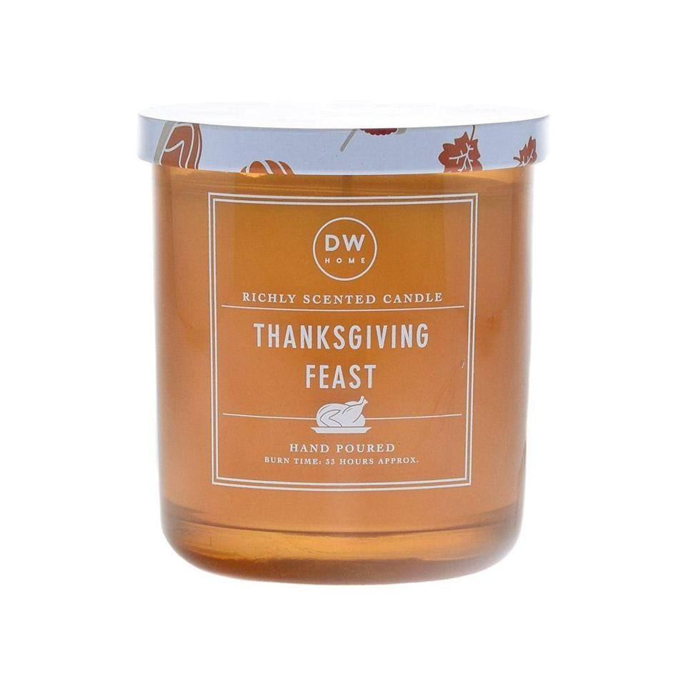 """<p>dwhome.com</p><p><strong>$14.00</strong></p><p><a href=""""https://www.dwhome.com/products/thanksgiving-feast"""" rel=""""nofollow noopener"""" target=""""_blank"""" data-ylk=""""slk:Shop Now"""" class=""""link rapid-noclick-resp"""">Shop Now</a></p><p>This mouthwatering candle smells just like, you guessed it!, Thanksgiving dinner, with scents of mashed potatoes and gravy, mixed with sage stuffing and cranberry sauce. </p>"""