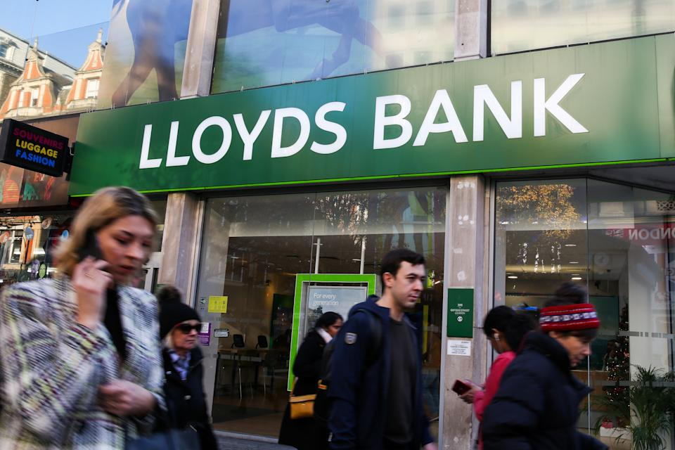 People walking past Lloyds Bank in London's West End. (Photo by Dinendra Haria / SOPA Images/Sipa USA)