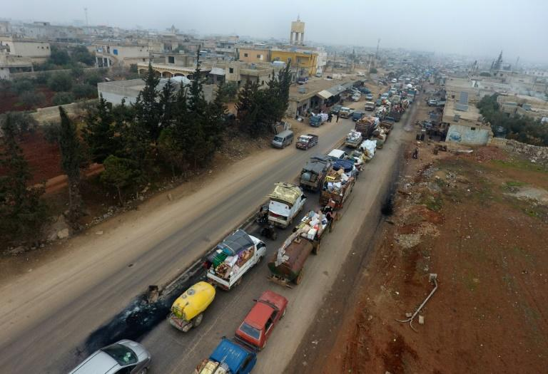 Fierce bombardment since mid-December has sparked a mass exodus from southern Idlib, as seen here in the village of Hazano on December 24