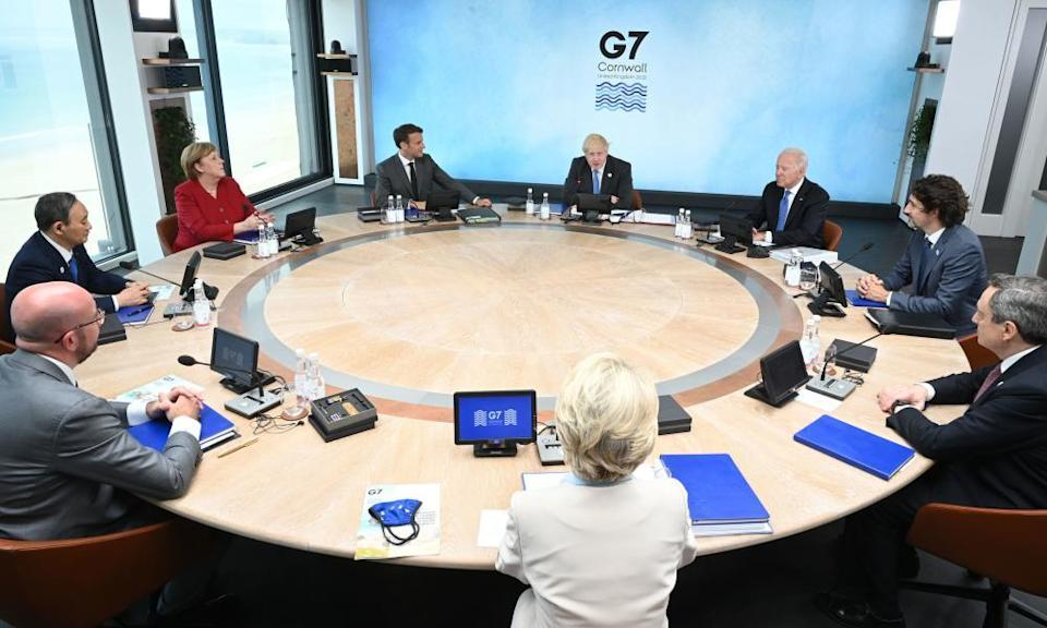 Leaders at a round table meeting in Carbis Bay, during the G7 summit in Cornwall.
