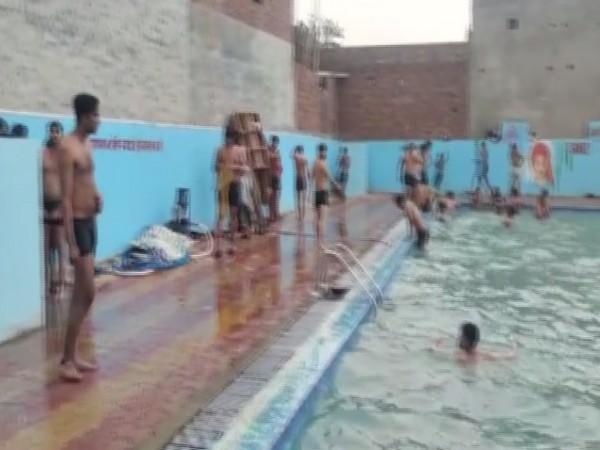 Visuals from the swimming pool in Ghaziabad which was operating during lockdown. (Photo/ ANI)
