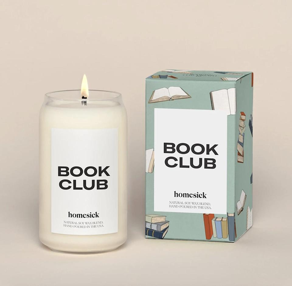 <p>The <span>homesick Book Club Candle</span> ($34) features notes of nutmeg, cinnamon, sandalwood, and amber - the ideal scent to accompany a good book on a rainy day.</p>