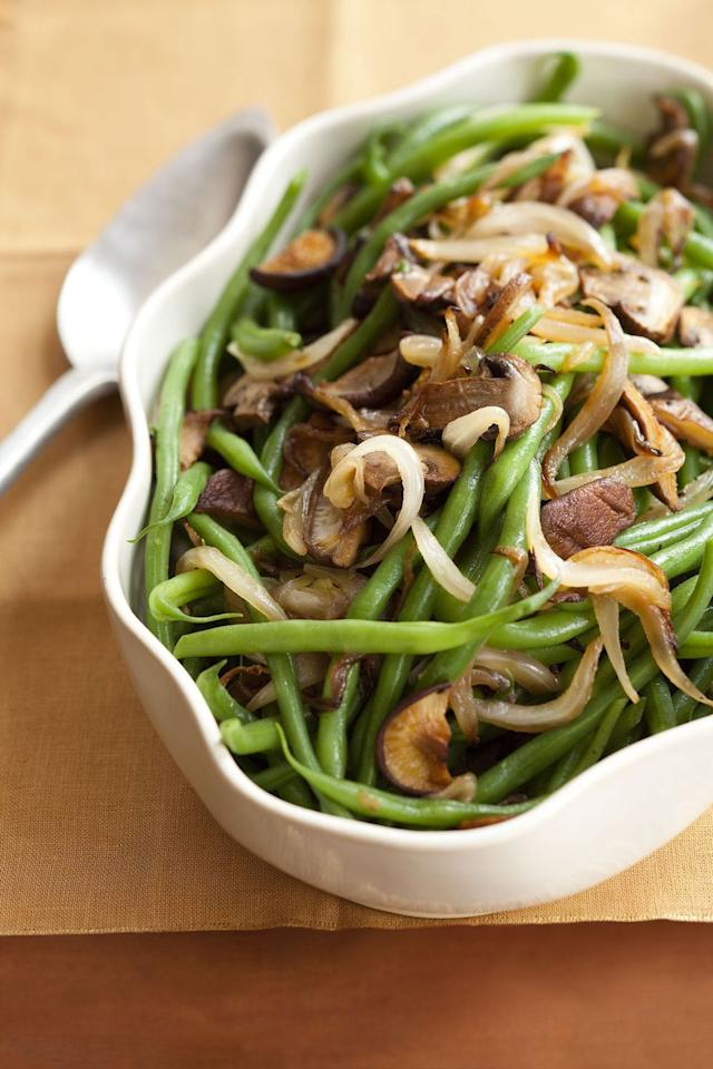 "<p>Dress up your green beans with garlic, mushrooms, and caramelized onions for a simply delicious side. </p><p><strong>Get the recipe at <a rel=""nofollow"" href=""https://www.goodhousekeeping.com/food-recipes/a8509/green-beans-mixed-mushrooms-recipe-ghk1110/"">Good Housekeeping. </a></strong></p>"