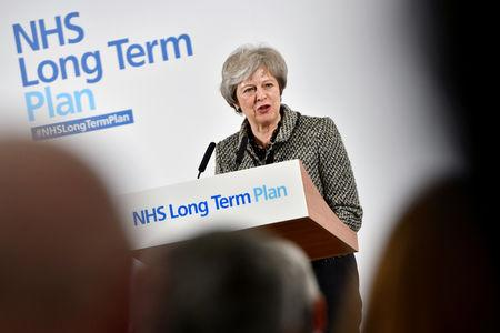 FILE PHOTO: Britain's Prime Minister Theresa May speaks to the media during the launch of the NHS Long Term Plan at Alder Hey Children's Hospital in Liverpool, Britain January 7, 2019. Anthony Devlin/Pool via REUTERS/File Photo