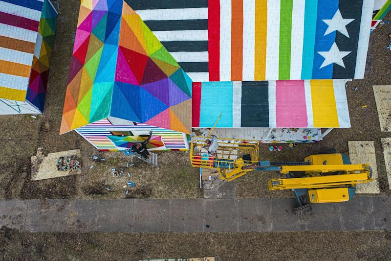 Aerial view of the Rainbow Embassy's pattern-filled roof