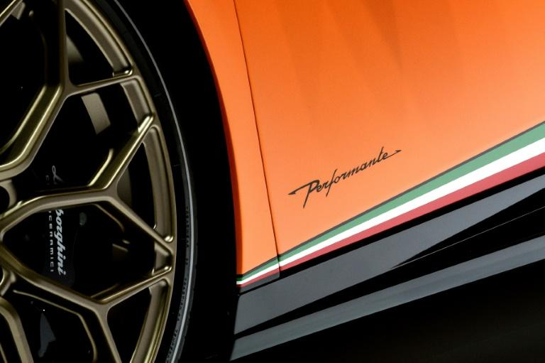 The Lamborghini Huracan, pictured, was one of several luxury brands on display at the Geneva International Motorshow