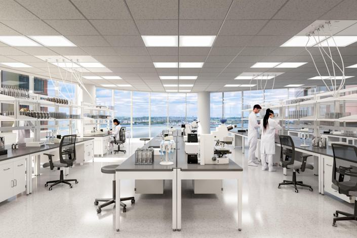 BioMed Realty's new lab space in one of the most recognizable buildings in Boston will boast rooftop gardens and decks with harbor and city views.