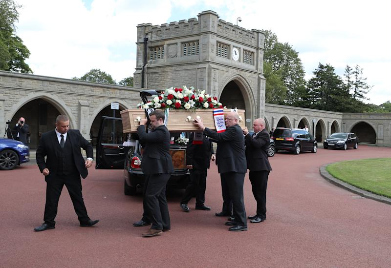 The coffin of Jack Charlton is taken into West Road Crematorium, in Newcastle for his funeral. The former Republic of Ireland manager, who won the World Cup playing for England, died on July 10 aged 85.