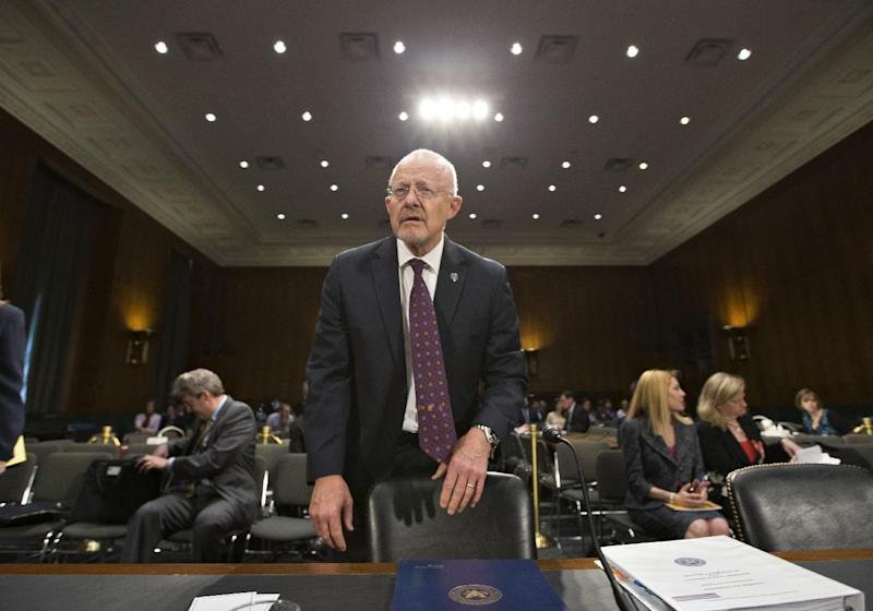 National Intelligence Director James Clapper arrives on Capitol Hill in Washington, Thursday, April 18, 2013, to testify before the Senate Armed Services Committee hearing on the current and future threats to national security.  (AP Photo/J. Scott Applewhite)