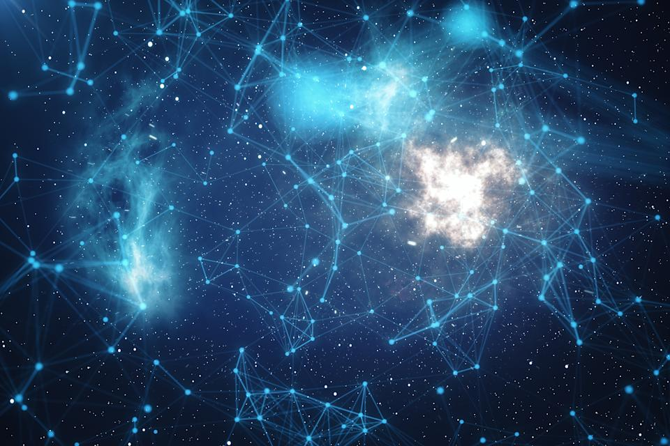 3D Rendering Technological Connection Futuristic Shape, Blue Dot Network, Abstract Background, Blue Background With Stars and Nebula, Concept of Network