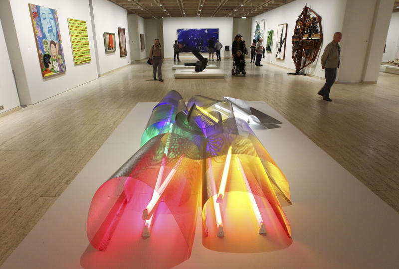 In this Aug. 16, 2012 photo, visitors amble through the Art Gallery of New South Wales in Sydney, Australia. Art Gallery of New South Wales, which features a collection of Australian, Asian and European art and free guided tours. (AP Photo/Rick Rycroft)