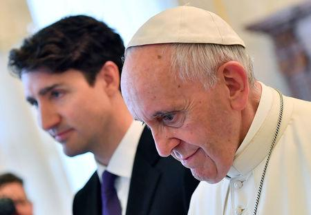 Pope Francis meets Canada's Prime Minister Justin Trudeau during a private audience at the Vatican