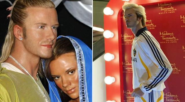 <p>Posh and Becks this time, as Mary and Joseph. It's not offensive because he scored that goal that time. </p>