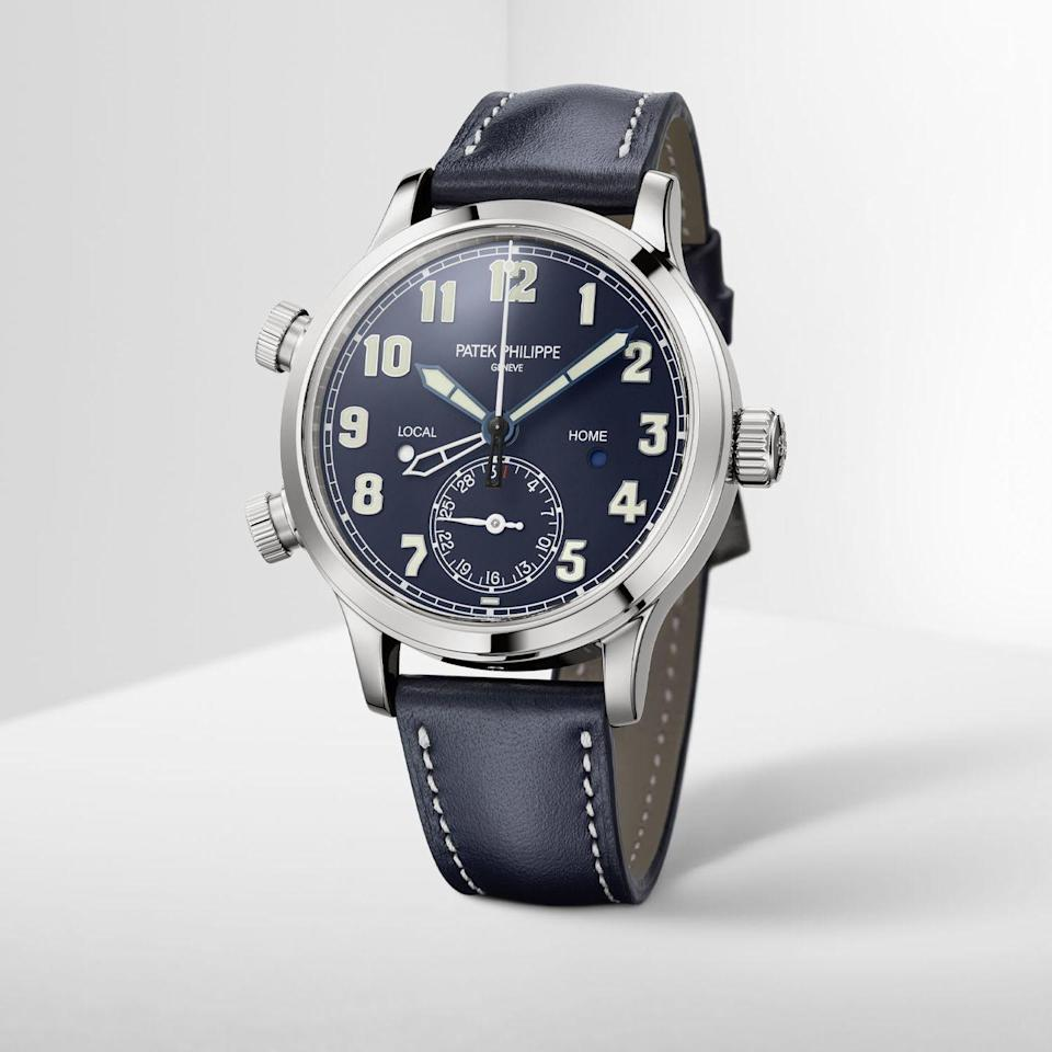 """<p>One of Patek's sportiest creations, this mid-sized take on its dual-time zone pilot's watch is intended for both men and women. That casual attitude to marketing extends to the look and feel of the watch, where classical aeronautical stylings are complimented by a deep navy dial and the calfskin strap. Less casual is the fact is the case material is white gold – not for Patek the more typical pilot's watch material of stainless steel. The outsized pushers and quirky numerals might not be to everyone's taste but we're sold.</p><p>£37,350; <a href=""""https://www.patek.com/en/home"""" rel=""""nofollow noopener"""" target=""""_blank"""" data-ylk=""""slk:patek.com"""" class=""""link rapid-noclick-resp"""">patek.com</a></p>"""