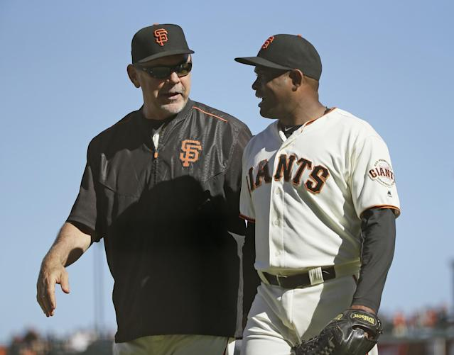 The Giants have never lost a postseason series with Bruce Bochy as their manager. (AP)