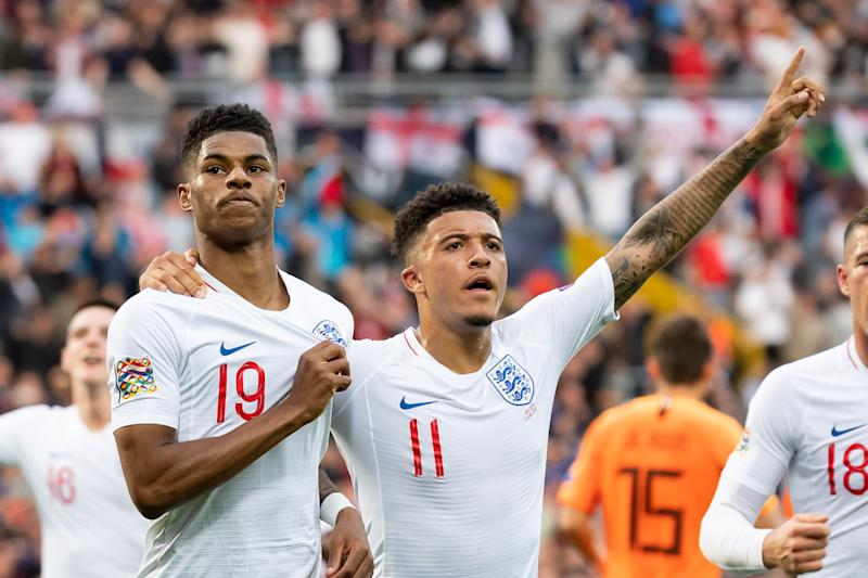GUIMARAES, PORTUGAL - JUNE 06:Marcus Rashford of England celebrates after scoring his team's first goal with Jadon Sancho of England during the UEFA Nations League Semi-Final match between the Netherlands and England at Estadio D. Afonso Henriques on June 6, 2019 in Guimaraes, Portugal. (Photo by TF-Images/Getty Images)