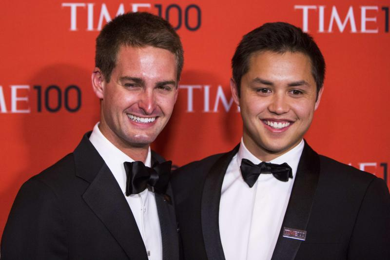 Honorees and Founders of Snapchat Evan Spiegel (L) and Bobby Murphy arrive at the Time 100 gala in New York, New York April 29, 2014. REUTERS/Lucas Jackson