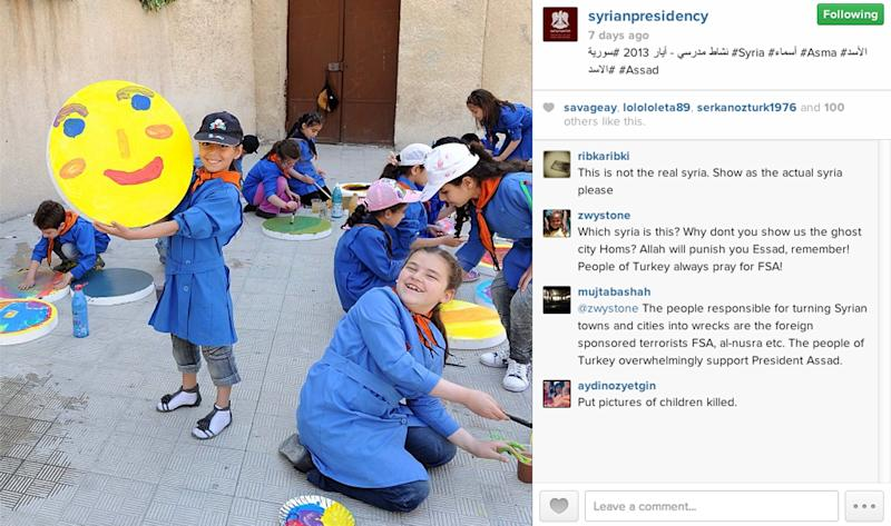 This undated photo posted on the official Instagram account of the Syrian Presidency and purports to show students at a school in Syria in 2013. Amid the carnage from the Syrian civil war, President Bashar Assad has embraced every tool at his disposal including social media to project confidence and transmit his message to dedicated fans, most recently on the popular photo-sharing service Instagram posting pictures of himself and his glamorous wife surrounded by idolizing crowds.(AP Photo/Syrian Presidency via Instagram)