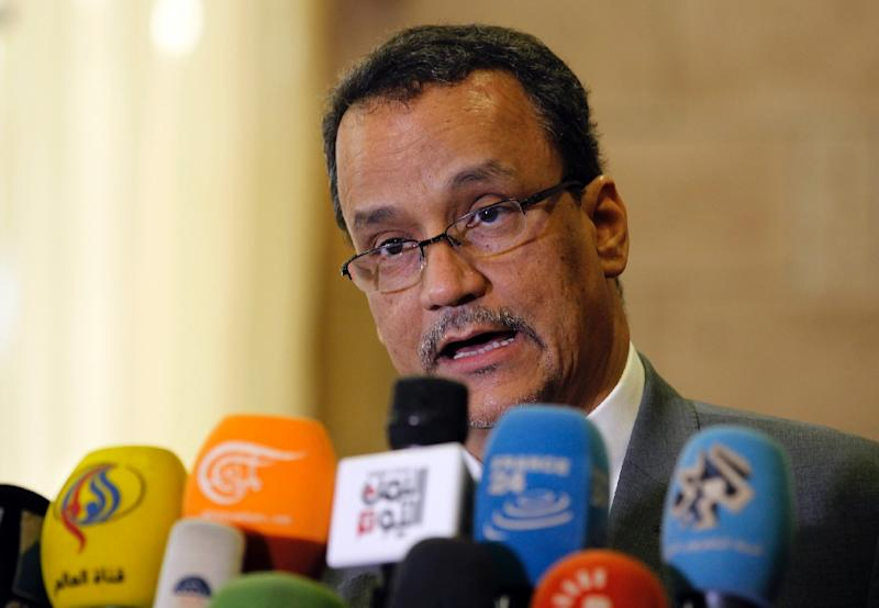The United Nations Special Envoy to Yemen Ismail Ould Cheikh Ahmed speaks during a press conference ahead of his departure at Sanaa international airport, on November 7, 2016