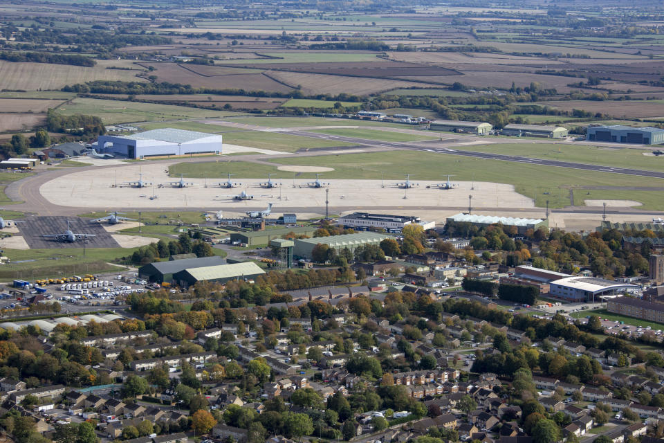 OXFORDSHIRE, UNITED KINGDOM. OCTOBER 2018. An aerial photograph of RAF Brize Norton on October 7th 2018. This old Second World War, Royal Air Force base dates back to 1935, it is located on the eastern side of the Cotswolds 13 miles west of the city of Oxford. Aerial Photograph by David Goddard/Getty Images)