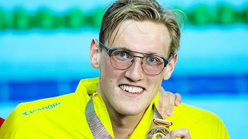 Mack Horton, pictured after winning gold at the 2018 Commonwealth Games, has been targeted by Chinese social media users.