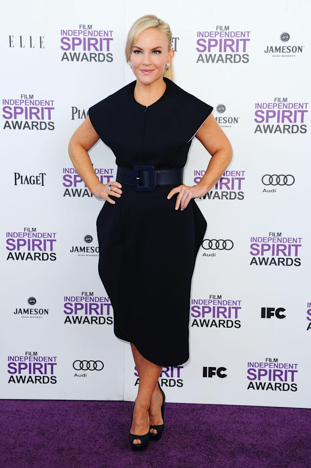 SANTA MONICA, CA - FEBRUARY 25:  Actress Rachael Harris arrives at the 2012 Film Independent Spirit Awards on February 25, 2012 in Santa Monica, California.  (Photo by Alberto E. Rodriguez/Getty Images)