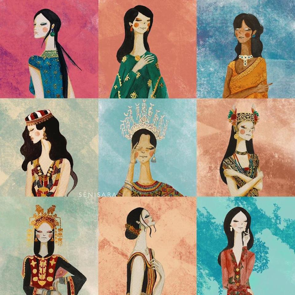 Noor Sarah's artwork which shows the women and their unique identities. — Picture courtesy of Noor Sarah.