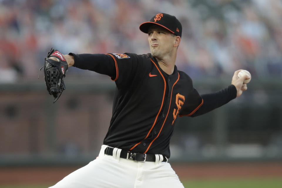 San Francisco Giants pitcher Drew Smyly works against the Texas Rangers during the first inning of a baseball game Saturday, Aug. 1, 2020, in San Francisco. (AP Photo/Ben Margot)