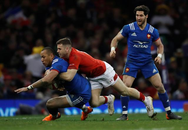 Rugby Union - Six Nations Championship - Wales vs France - Principality Stadium, Cardiff, Britain - March 17, 2018 France's Gael Fickou in action with Wales' Gareth Davies Action Images via Reuters/Paul Childs
