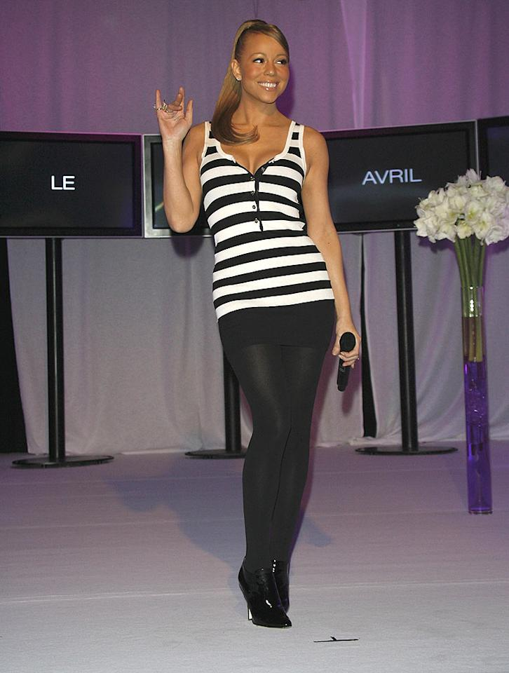 "Mariah Carey looks ready to perform her own version of ""Jailhouse Rock"" in her black and white ensemble. Marc Susset-Lacroix/<a href=""http://www.wireimage.com"" target=""new"">WireImage.com</a> - March 31, 2008"