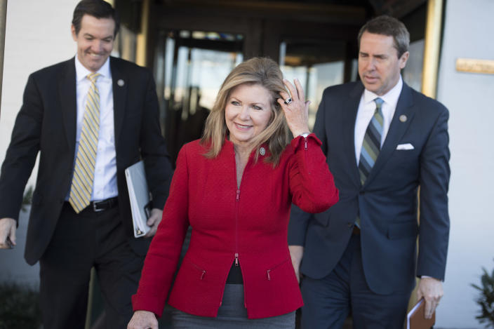 Blackburn, flanked by Reps. Evan Jenkins, R-W.Va., left, and Mark Walker, R-N.C., leaves a House Republican Conference meeting at the Capitol Hill Club on March 8, 2017. (Photo: Tom Williams/CQ Roll Call)