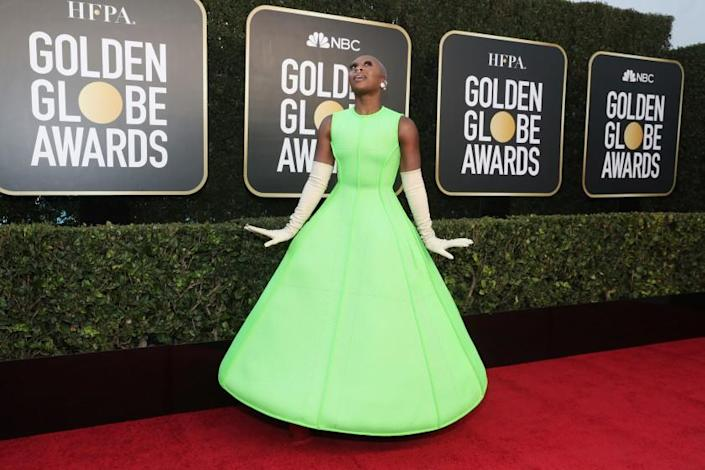 BEVERLY HILLS, CALIFORNIA: 78th Annual GOLDEN GLOBE AWARDS -- Pictured: Cynthia Erivo attends the 78th Annual Golden Globe Awards held at The Beverly Hilton and broadcast on February 28, 2021 in Beverly Hills, California. -- (Photo by Todd Williamson/NBC/NBCU Photo Bank via Getty Images)