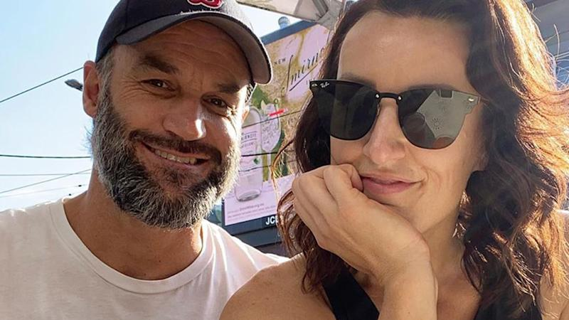 Mark Scrivens and Bianca Chatfield pose for a selfie