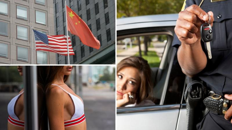 US and China flags on the top left, a woman's chest on the bottom left and a driver looking at a police officer holding car key on the right.