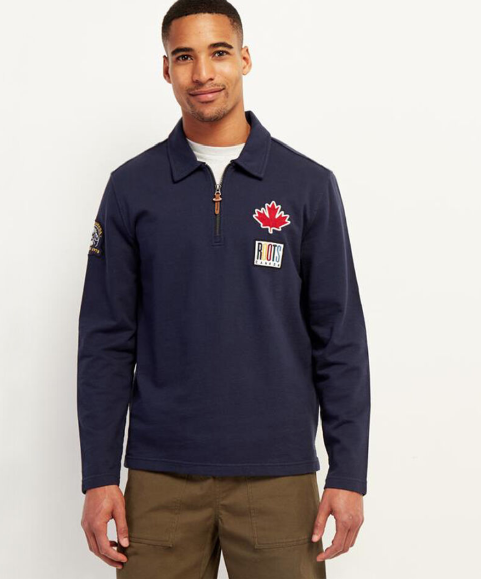 Camp Patch Zip Polo. Image via Roots.