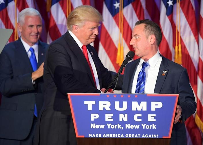 Chairman of the Republican National Committee Reince Priebus (R) could be tapped for chief of staff in a Donald Trump administration (AFP Photo/Jim Watson)