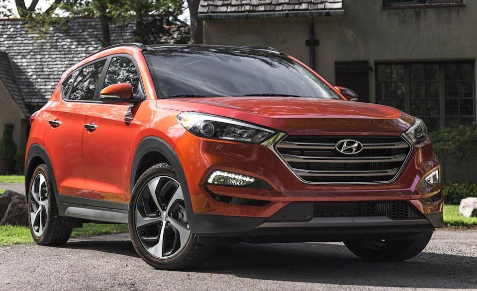 """<p>This is the least expensive crossover on this list. Built in Ulsan, South Korea, the second generation of the <a href=""""https://www.caranddriver.com/hyundai/tucson-2020"""" rel=""""nofollow noopener"""" target=""""_blank"""" data-ylk=""""slk:Hyundai Tucson"""" class=""""link rapid-noclick-resp"""">Hyundai Tucson</a> is one of the vehicles that established the brand in the United States. Cute styling that has aged well, along with good fuel economy, and agreeable driving dynamics are all attributes of this compact SUV. Front-wheel drive was standard, and all-wheel drive was available. Every Tucson was powered by a smooth-enough four-cylinder engine, either a 2.0-liter producing 165 horsepower or a 2.4-liter packing 176 horsepower. Most got a six-speed automatic. They aren't quick—the run up to 60 mph takes about 10 seconds—but they can seat five, and they're dirt cheap with prices starting at less than $5500.</p>"""