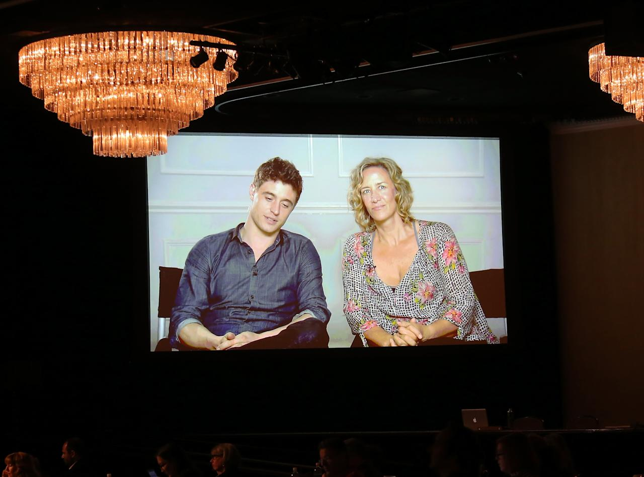 """BEVERLY HILLS, CA - JULY 25:(L-R) Actors Max Irons and Janet McTeer speak via satellite during the """"The White Queen"""" panel discussion at the Starz portion of the 2013 Summer Television Critics Association tour - Day 3 at the Beverly Hilton Hotel on July 26, 2013 in Beverly Hills, California."""