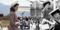 """<p>Queen Elizabeth's solo tour of Kenya was a huge milestone for the young royal. For her arrival in Nairobi, Elizabeth wore a brown polka dot dress with a peplum waist. The show recreated the look exactly, down to the white handbag she carried. </p><p><strong>RELATED</strong>: <a href=""""https://www.goodhousekeeping.com/life/entertainment/a34619774/queen-elizabeth-life-lessons-health-new-book/"""" rel=""""nofollow noopener"""" target=""""_blank"""" data-ylk=""""slk:12 Life Lessons Queen Elizabeth Follows for Good Health"""" class=""""link rapid-noclick-resp"""">12 Life Lessons Queen Elizabeth Follows for Good Health</a></p>"""