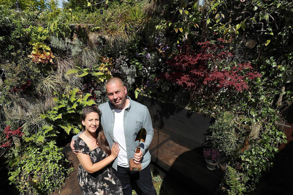 B&Q Gardener of the Year Gary McLaughlan, with his wife Lindsey (Scott Heppell/PA)