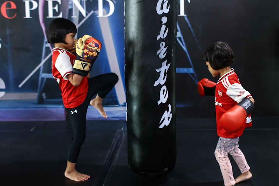 Kids training in martial arts at Neue Fit gym. (PHOTO: Cheryl Tay)