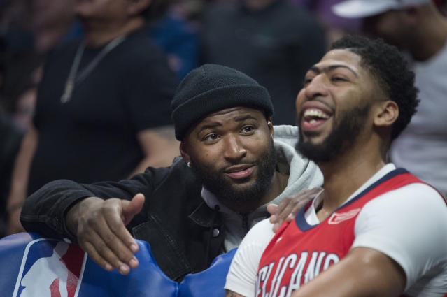 "<a class=""link rapid-noclick-resp"" href=""/nba/players/5007/"" data-ylk=""slk:Anthony Davis"">Anthony Davis</a> and <a class=""link rapid-noclick-resp"" href=""/nba/players/4720/"" data-ylk=""slk:DeMarcus Cousins"">DeMarcus Cousins</a> played just 59 games together on the <a class=""link rapid-noclick-resp"" href=""/nba/teams/nor"" data-ylk=""slk:New Orleans Pelicans"">New Orleans Pelicans</a>. (AP)"