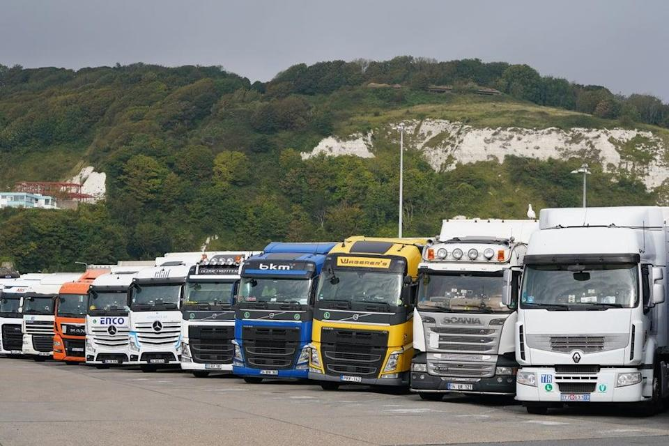 European lorries parked in Dover, Kent (Gareth Fuller/PA) (PA Wire)