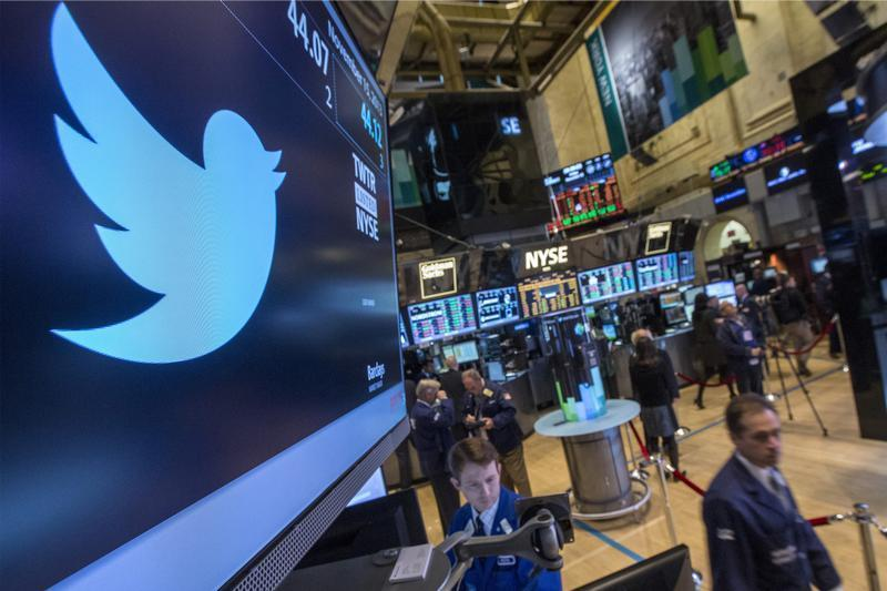 The Twitter symbol is displayed at the post where the stock is traded on the floor of the New York Stock Exchange