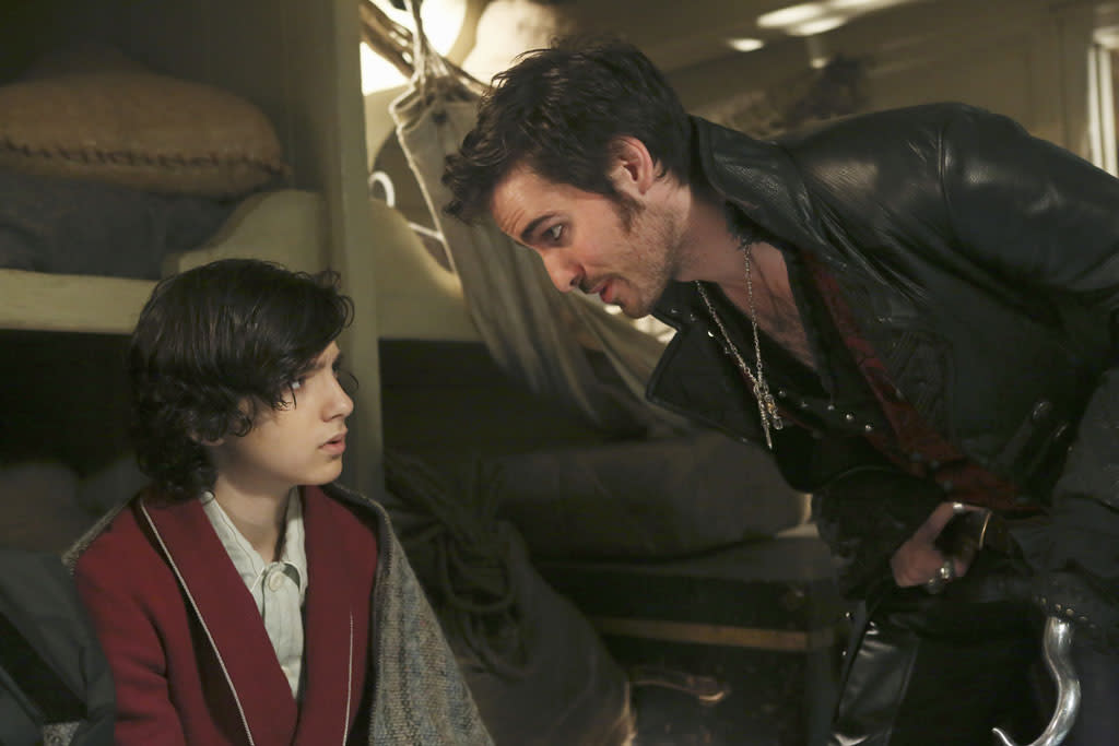 """""""And Straight On 'Til Morning"""" - The inhabitants of Storybrooke brace themselves for the end when Greg and Tamara detonate the trigger Regina had placed within the curse, with the annihilation of the town and its residents imminent; and Mr. Gold mourns the loss of his son, Bae/Neal. Meanwhile, back in Neverland of the past, Hook discovers his connection to a young Bae after he rescues him from the sea and soon realizes that the Lost Boys are in hot pursuit of the boy, on the Season Finale of """"Once Upon a Time."""""""