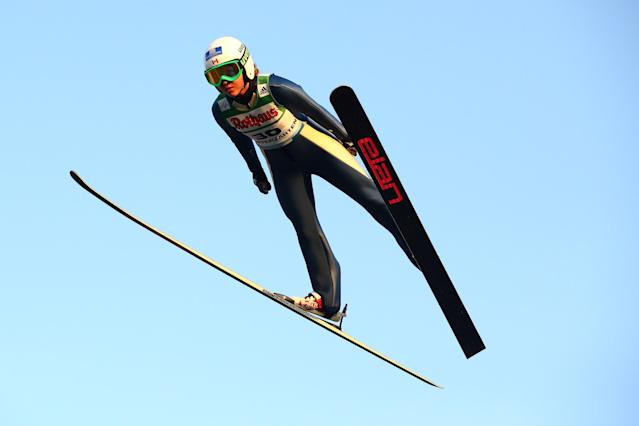 HINTERZARTEN, GERMANY - JULY 26: Alexandra Pretorius of Canada during her first jump during the women's competition of the FIS Ski Jumping Summer Grand Prix at Rothausschanze on July 26, 2013 in Hinterzarten, Germany. (Photo by Christof Koepsel/Getty Images)