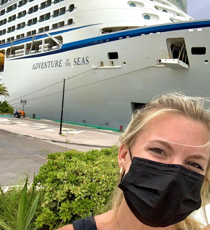 USA TODAY reporter Morgan Hines took a selfie with Royal Caribbean's Adventure of the Seas while boarding.