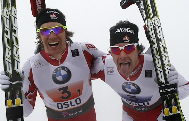 Canada's gold medalists Alex Harvey (R) and Devon Kershaw (L) celebrate winning the Men's Team Sprint Classic event at the Nordic Skiing World Championships in Oslo, ON March 2, 2011. AFP PHOTO/DANIEL SANNUM LAUTEN (Photo credit should read DANIEL SANNUM LAUTEN/AFP/Getty Images)