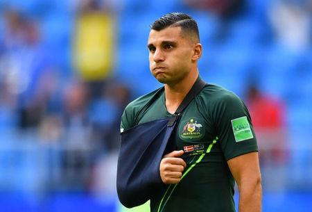 Soccer Football - World Cup - Group C - Denmark vs Australia - Samara Arena, Samara, Russia - June 21, 2018 Australia's Andrew Nabbout after the match REUTERS/Dylan Martinez